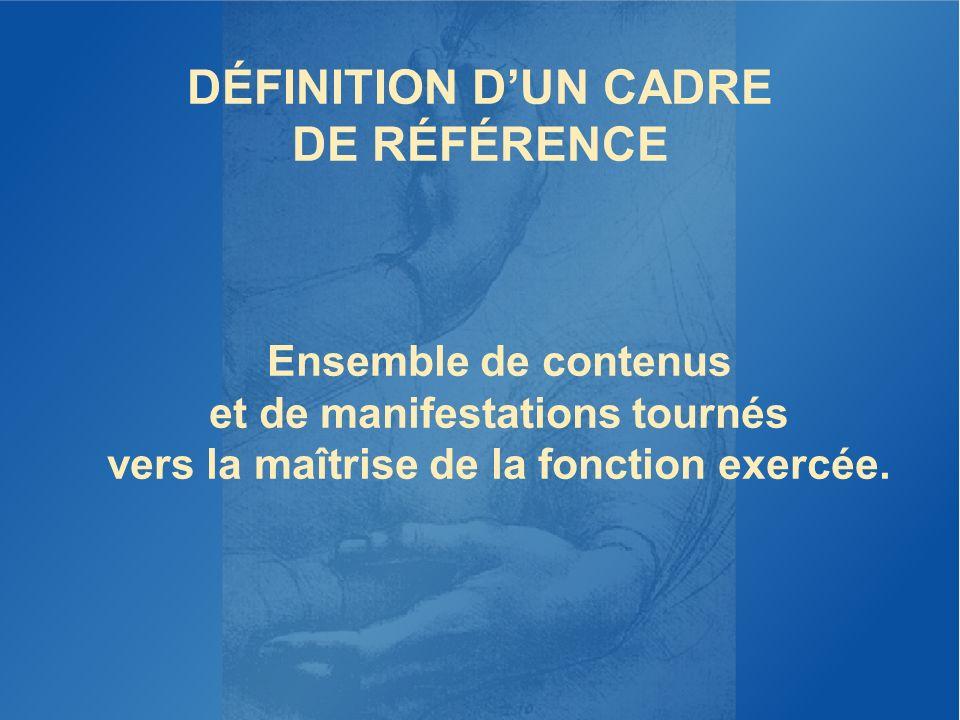 DÉFINITION DUN CADRE DE RÉFÉRENCE Ensemble de contenus et de manifestations tournés vers la maîtrise de la fonction exercée.