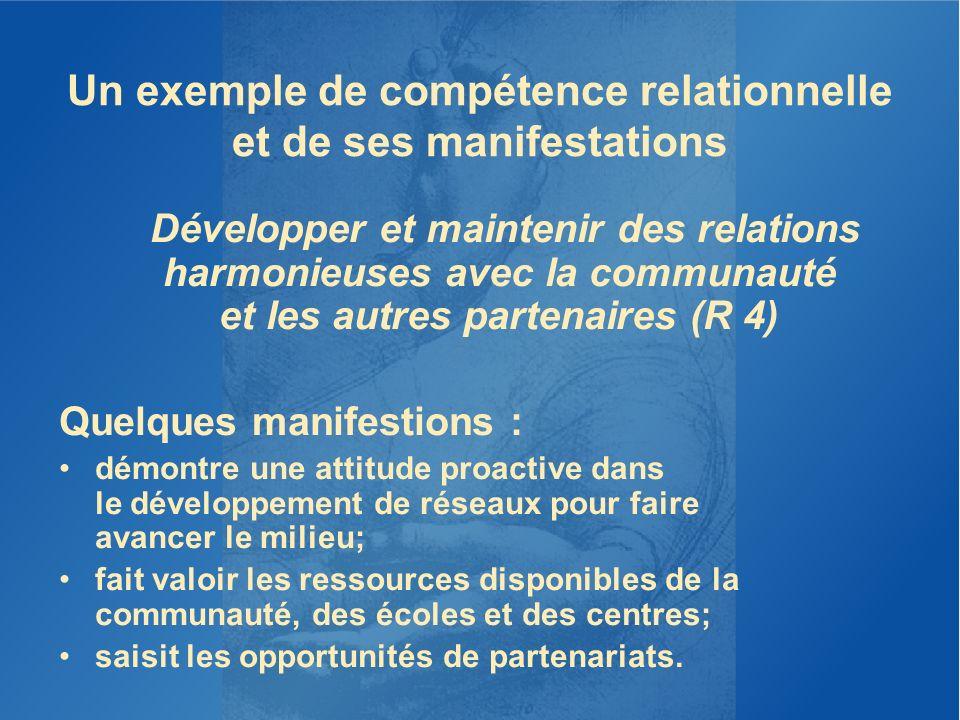 Un exemple de compétence relationnelle et de ses manifestations Développer et maintenir des relations harmonieuses avec la communauté et les autres pa