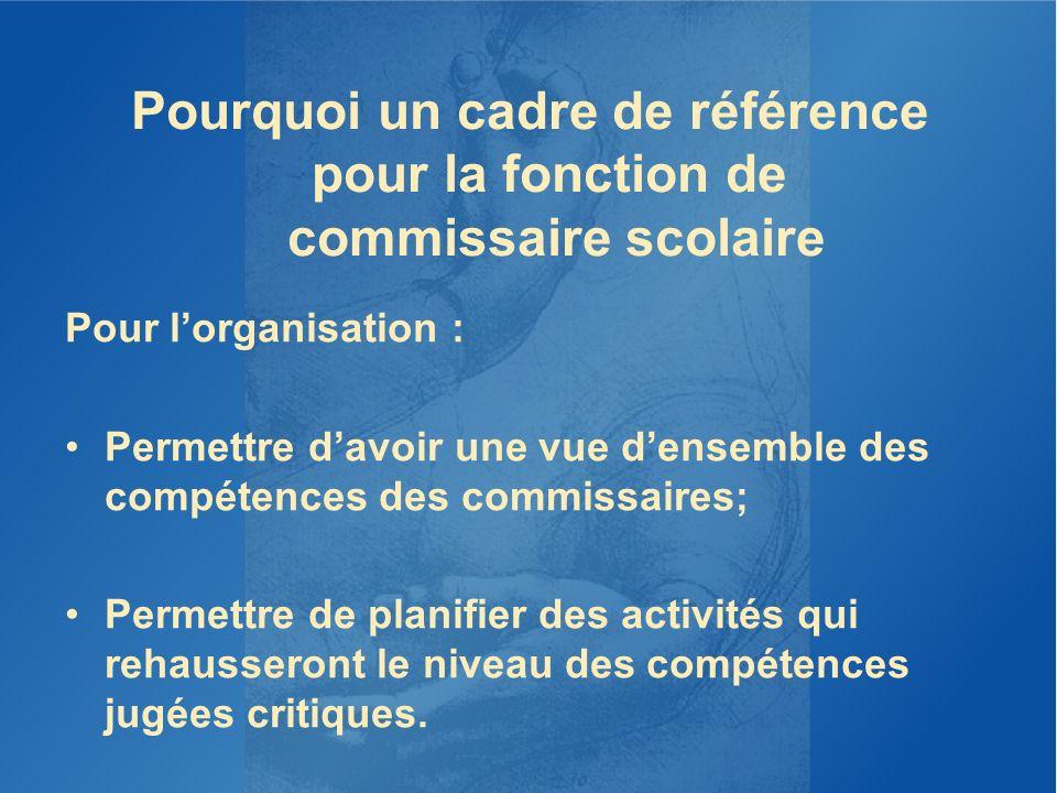 Pourquoi un cadre de référence pour la fonction de commissaire scolaire Pour lorganisation : Permettre davoir une vue densemble des compétences des co