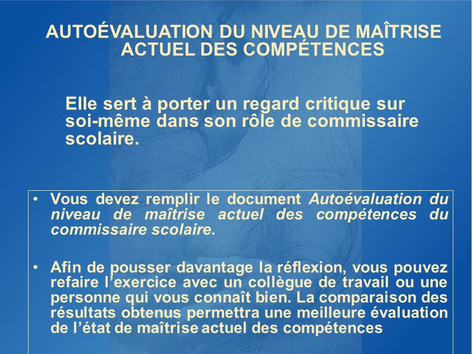 Vous devez remplir le document Autoévaluation du niveau de maîtrise actuel des compétences du commissaire scolaire. Afin de pousser davantage la réfle