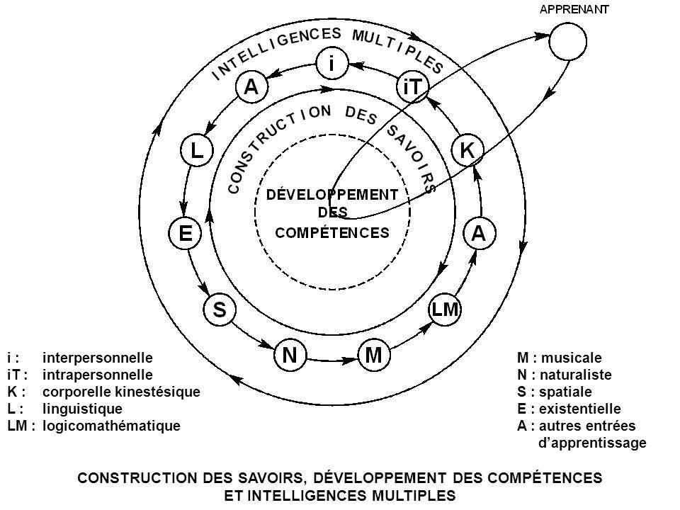 CONSTRUCTION DES SAVOIRS, DÉVELOPPEMENT DES COMPÉTENCES ET INTELLIGENCES MULTIPLES i :interpersonnelle iT :intrapersonnelle K :corporelle kinestésique