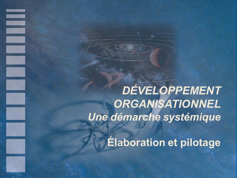 DÉVELOPPEMENT ORGANISATIONNEL Une démarche systémique Élaboration et pilotage