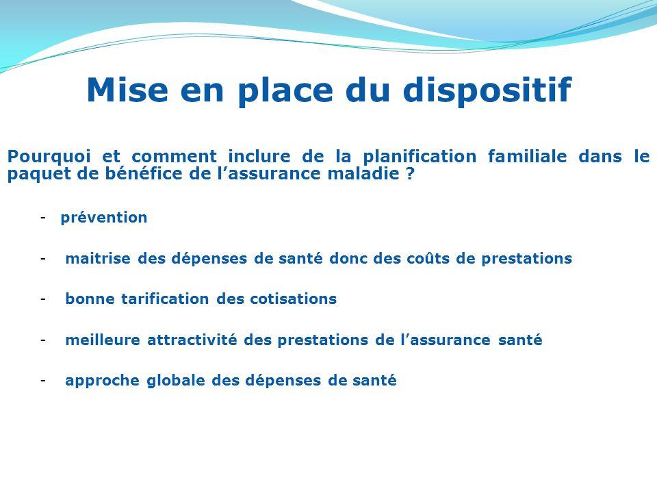 Mise en place du dispositif Pourquoi et comment inclure de la planification familiale dans le paquet de bénéfice de lassurance maladie .