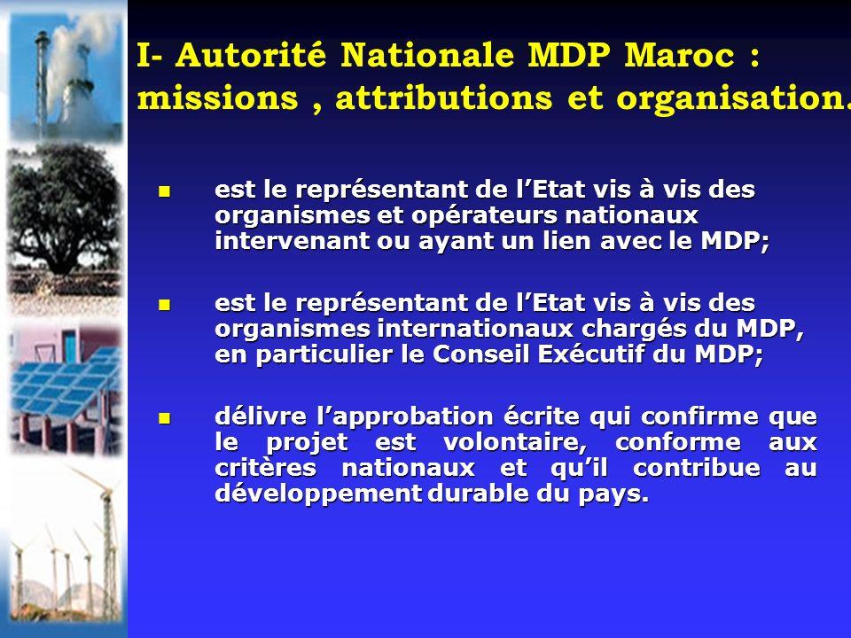 I- Autorité Nationale MDP Maroc : missions, attributions et organisation. est le représentant de lEtat vis à vis des organismes et opérateurs nationau