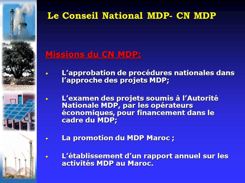 Le Conseil National MDP- CN MDP Missions du CN MDP: Lapprobation de procédures nationales dans lapproche des projets MDP; Lapprobation de procédures nationales dans lapproche des projets MDP; Lexamen des projets soumis à lAutorité Nationale MDP, par les opérateurs économiques, pour financement dans le cadre du MDP; Lexamen des projets soumis à lAutorité Nationale MDP, par les opérateurs économiques, pour financement dans le cadre du MDP; La promotion du MDP Maroc ; La promotion du MDP Maroc ; Létablissement dun rapport annuel sur les activités MDP au Maroc.