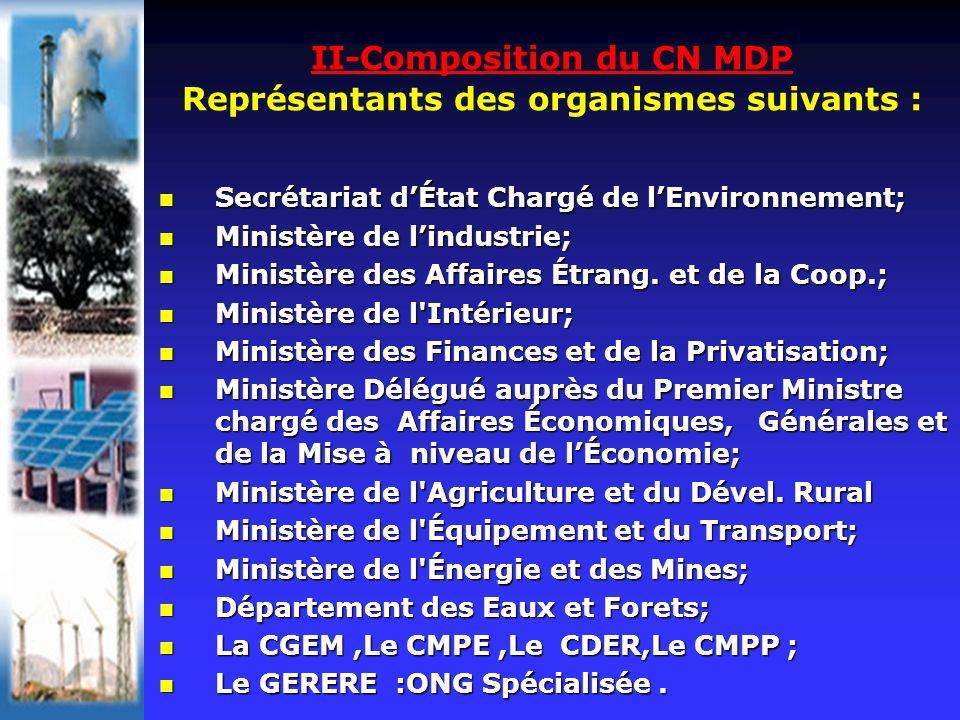 II-Composition du CN MDP Représentants des organismes suivants : Secrétariat dÉtat Chargé de lEnvironnement; Secrétariat dÉtat Chargé de lEnvironnemen