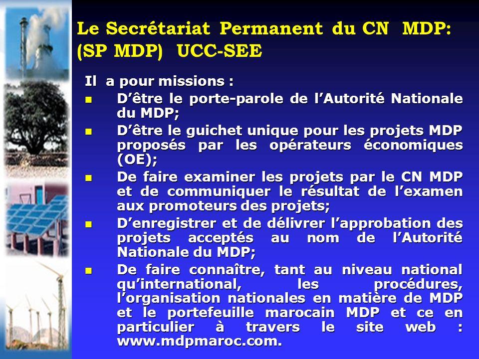 Le Secrétariat Permanent du CN MDP: (SP MDP) UCC-SEE Il a pour missions : Dêtre le porte-parole de lAutorité Nationale du MDP; Dêtre le porte-parole d