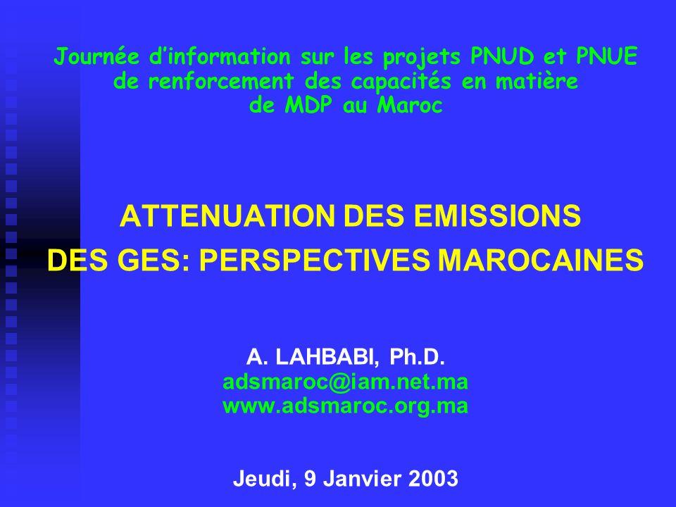 Journée dinformation sur les projets PNUD et PNUE de renforcement des capacités en matière de MDP au Maroc ATTENUATION DES EMISSIONS DES GES: PERSPECT