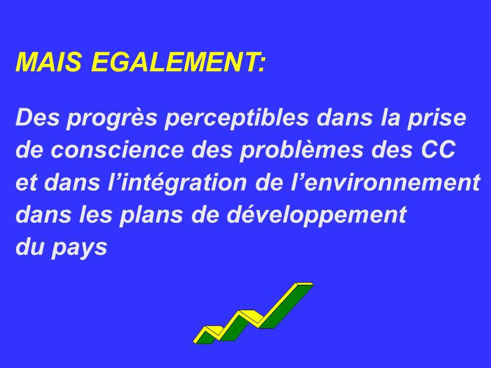 MAIS EGALEMENT: Des progrès perceptibles dans la prise de conscience des problèmes des CC et dans lintégration de lenvironnement dans les plans de dév