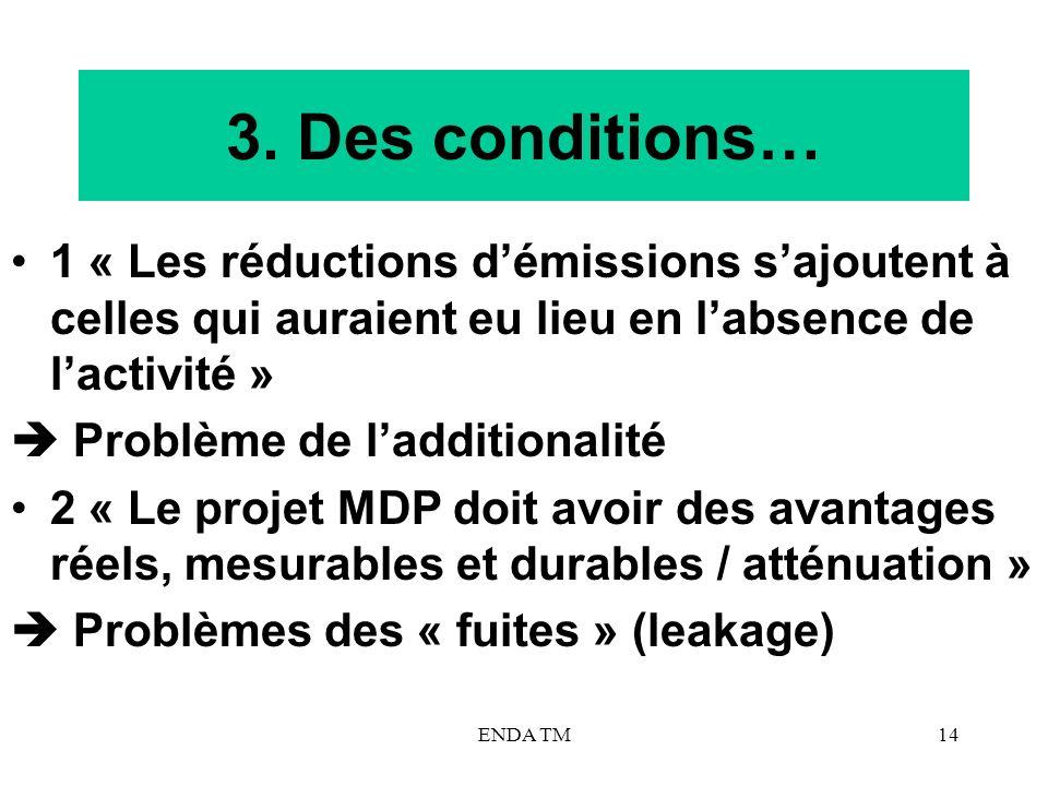 ENDA TM14 3. Des conditions… 1 « Les réductions démissions sajoutent à celles qui auraient eu lieu en labsence de lactivité » Problème de ladditionali