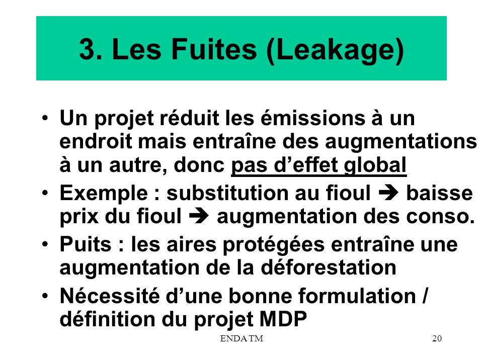 ENDA TM20 3. Les Fuites (Leakage) Un projet réduit les émissions à un endroit mais entraîne des augmentations à un autre, donc pas deffet global Exemp