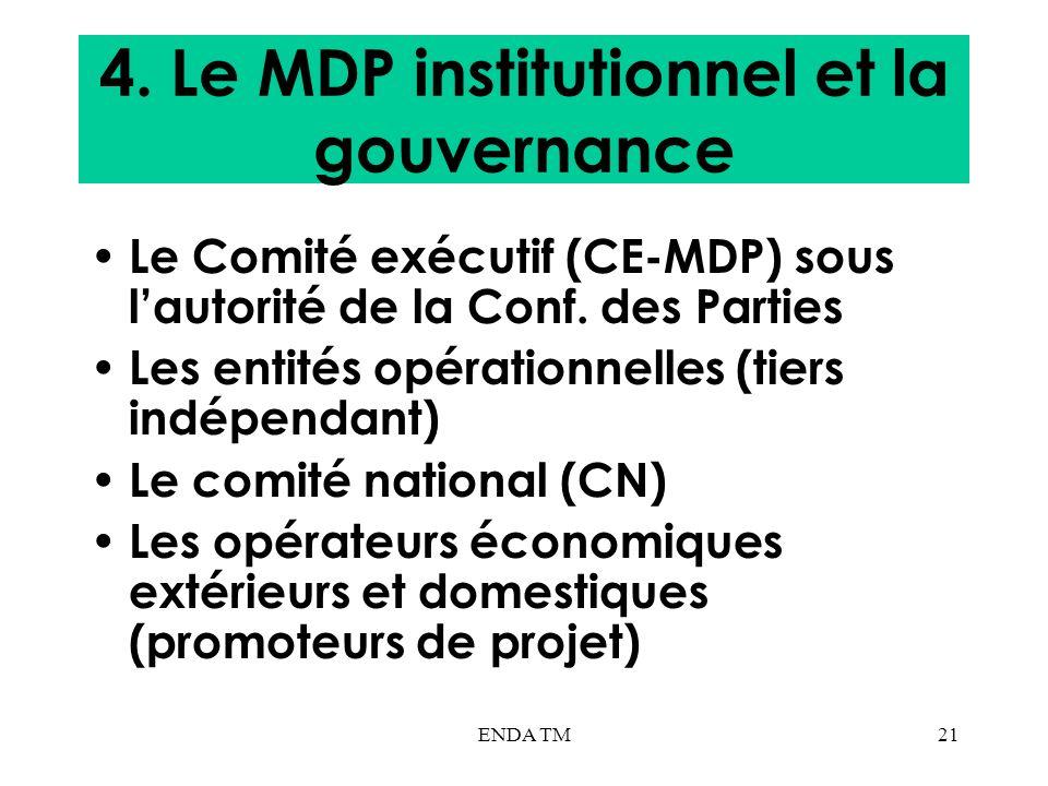 ENDA TM21 4. Le MDP institutionnel et la gouvernance Le Comité exécutif (CE-MDP) sous lautorité de la Conf. des Parties Les entités opérationnelles (t