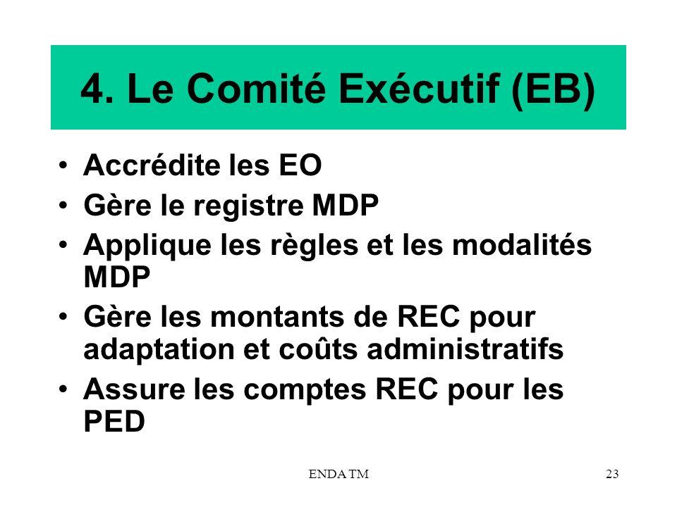 ENDA TM23 4. Le Comité Exécutif (EB) Accrédite les EO Gère le registre MDP Applique les règles et les modalités MDP Gère les montants de REC pour adap