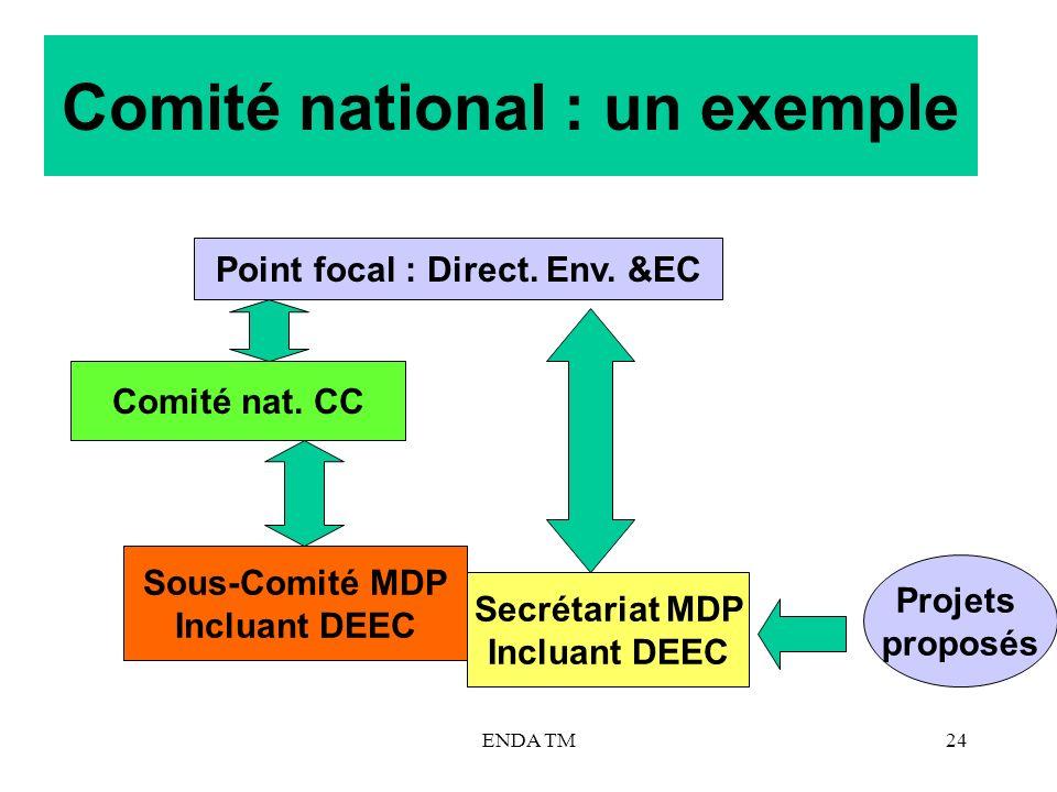 ENDA TM24 Comité national : un exemple Point focal : Direct. Env. &EC Comité nat. CC Sous-Comité MDP Incluant DEEC Secrétariat MDP Incluant DEEC Proje