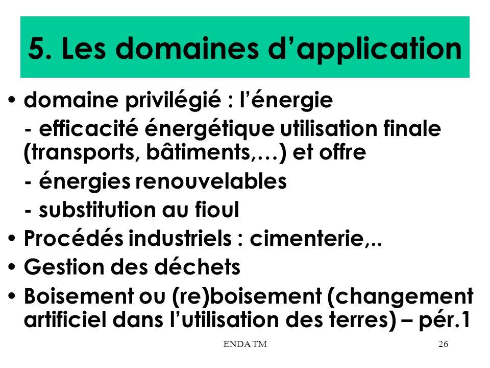 ENDA TM26 5. Les domaines dapplication domaine privilégié : lénergie - efficacité énergétique utilisation finale (transports, bâtiments,…) et offre -