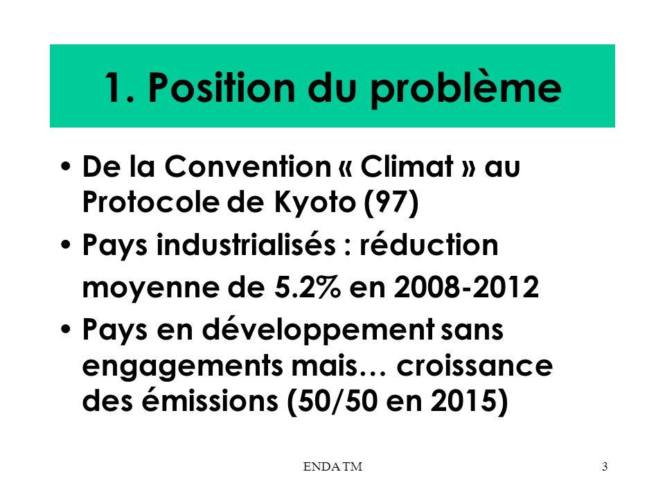 ENDA TM3 1. Position du problème De la Convention « Climat » au Protocole de Kyoto (97) Pays industrialisés : réduction moyenne de 5.2% en 2008-2012 P