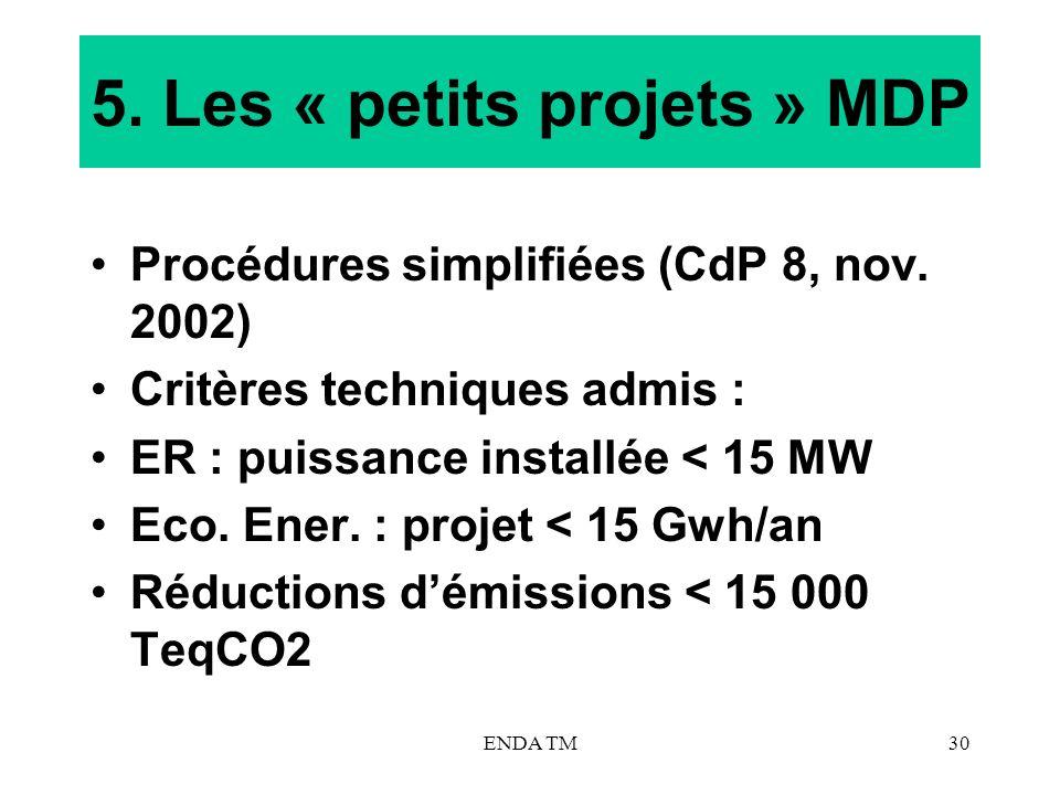 ENDA TM30 5. Les « petits projets » MDP Procédures simplifiées (CdP 8, nov. 2002) Critères techniques admis : ER : puissance installée < 15 MW Eco. En