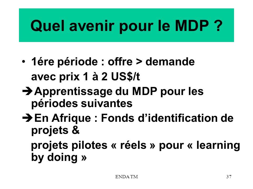 ENDA TM37 Quel avenir pour le MDP ? 1ére période : offre > demande avec prix 1 à 2 US$/t Apprentissage du MDP pour les périodes suivantes En Afrique :