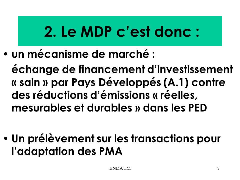 ENDA TM8 2. Le MDP cest donc : un mécanisme de marché : échange de financement dinvestissement « sain » par Pays Développés (A.1) contre des réduction