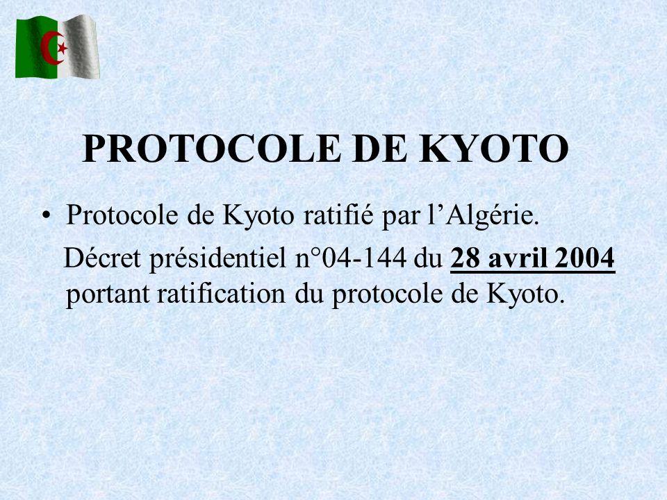 Protocole de Kyoto ratifié par lAlgérie. Décret présidentiel n°04-144 du 28 avril 2004 portant ratification du protocole de Kyoto. PROTOCOLE DE KYOTO
