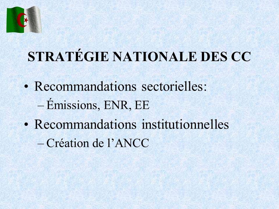 STRATÉGIE NATIONALE DES CC Recommandations sectorielles: –Émissions, ENR, EE Recommandations institutionnelles –Création de lANCC