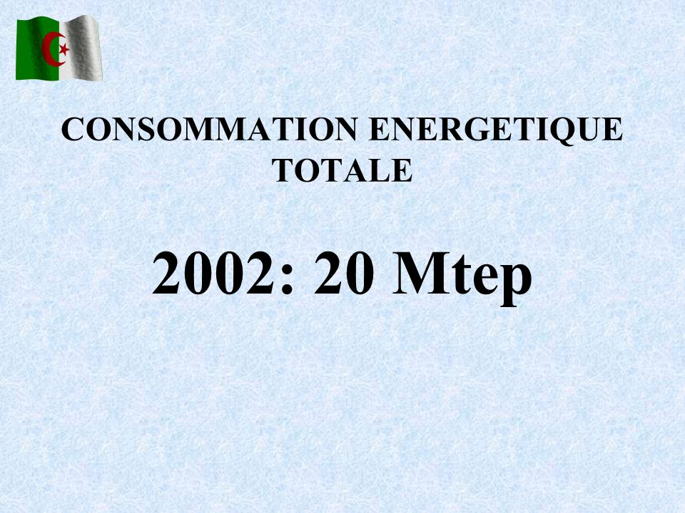 CONSOMMATION ENERGETIQUE TOTALE 2002: 20 Mtep