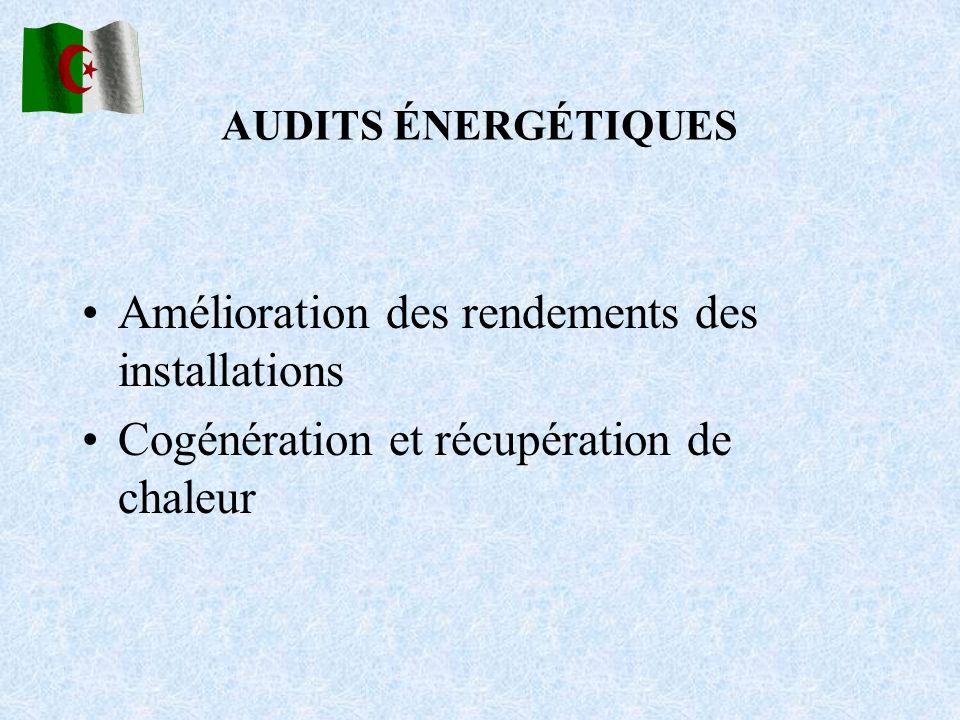 AUDITS ÉNERGÉTIQUES Amélioration des rendements des installations Cogénération et récupération de chaleur