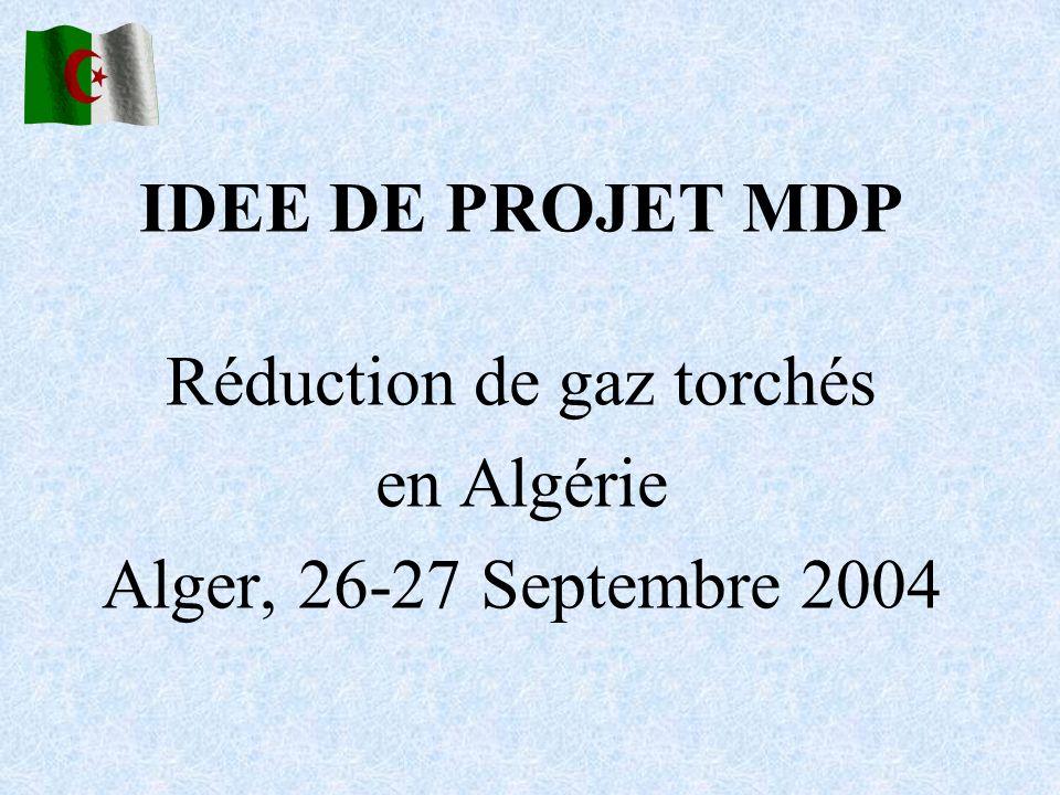 IDEE DE PROJET MDP Réduction de gaz torchés en Algérie Alger, 26-27 Septembre 2004