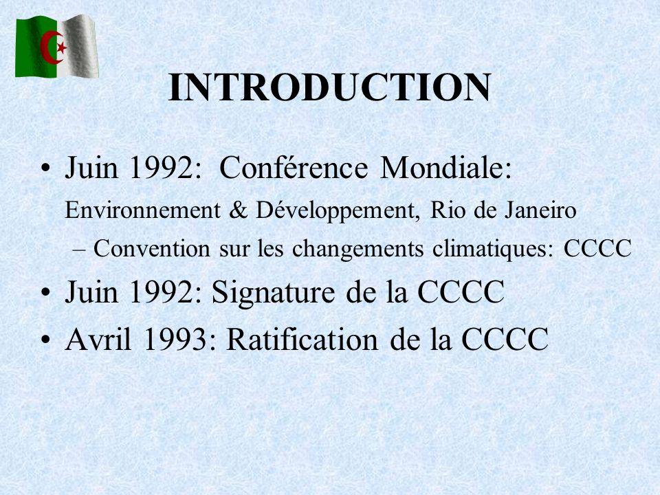 INTRODUCTION Juin 1992: Conférence Mondiale: Environnement & Développement, Rio de Janeiro –Convention sur les changements climatiques: CCCC Juin 1992