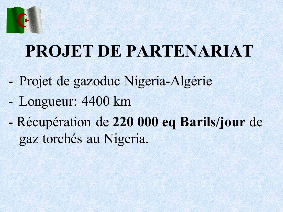 PROJET DE PARTENARIAT -Projet de gazoduc Nigeria-Algérie -Longueur: 4400 km - Récupération de 220 000 eq Barils/jour de gaz torchés au Nigeria.