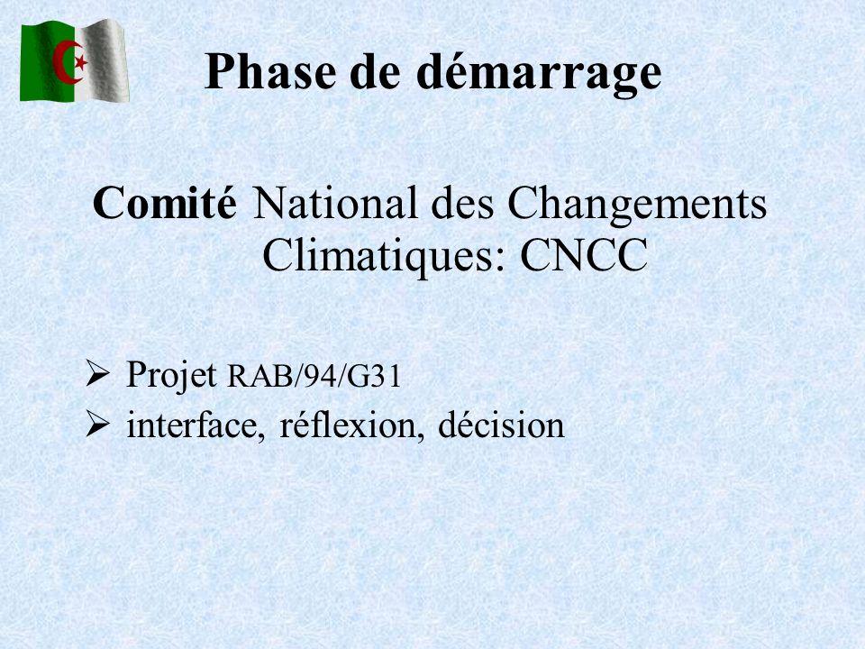 Phase de démarrage Comité National des Changements Climatiques: CNCC Projet RAB/94/G31 interface, réflexion, décision