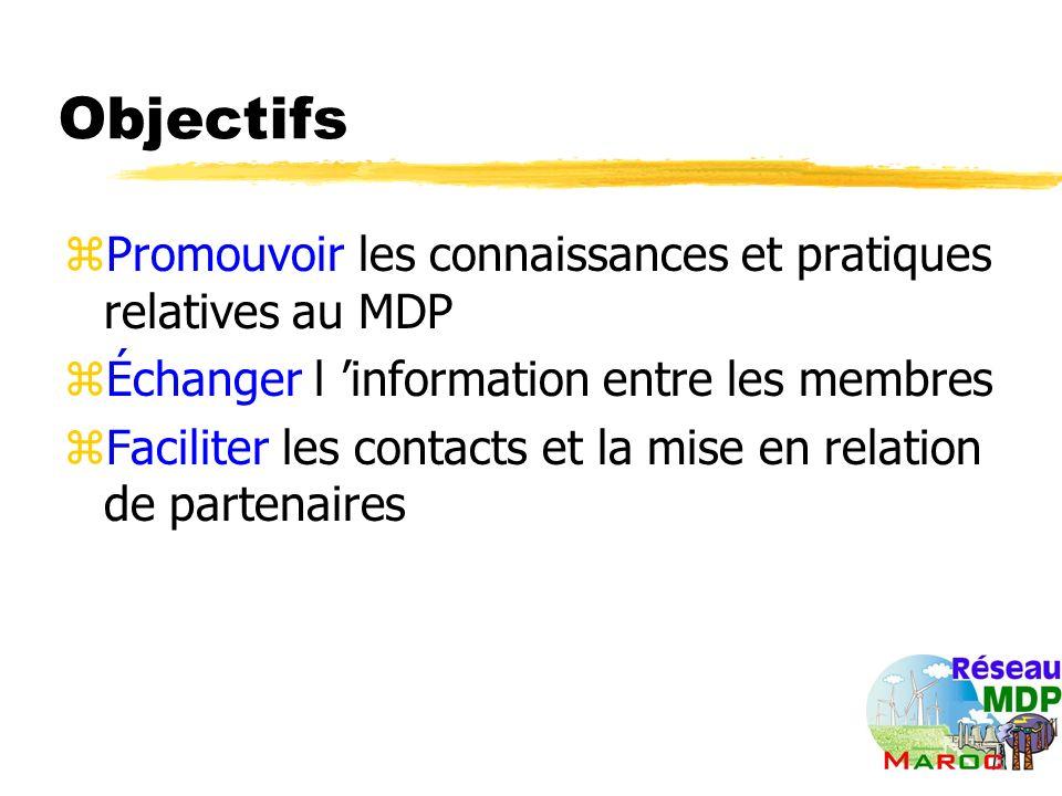 Objectifs zPromouvoir les connaissances et pratiques relatives au MDP zÉchanger l information entre les membres zFaciliter les contacts et la mise en relation de partenaires