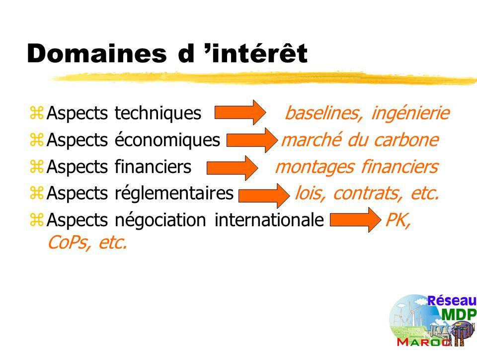 Domaines d intérêt zAspects techniques baselines, ingénierie zAspects économiques marché du carbone zAspects financiers montages financiers zAspects réglementaires lois, contrats, etc.