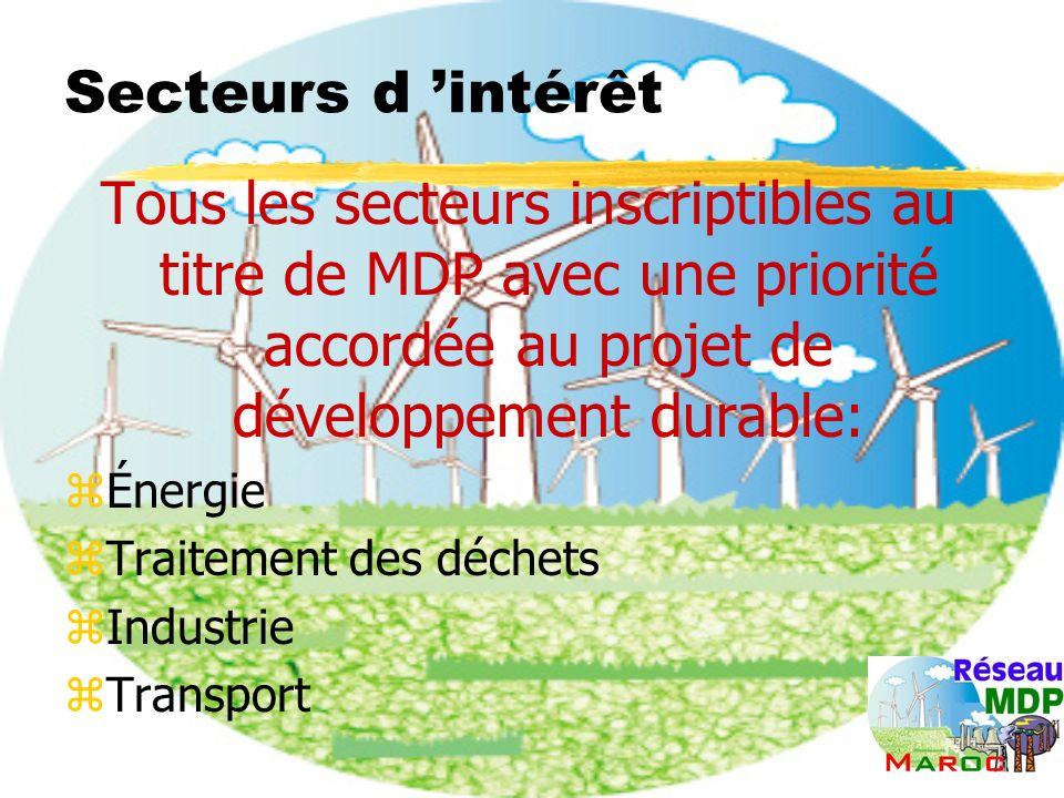Secteurs d intérêt Tous les secteurs inscriptibles au titre de MDP avec une priorité accordée au projet de développement durable: zÉnergie zTraitement des déchets zIndustrie zTransport