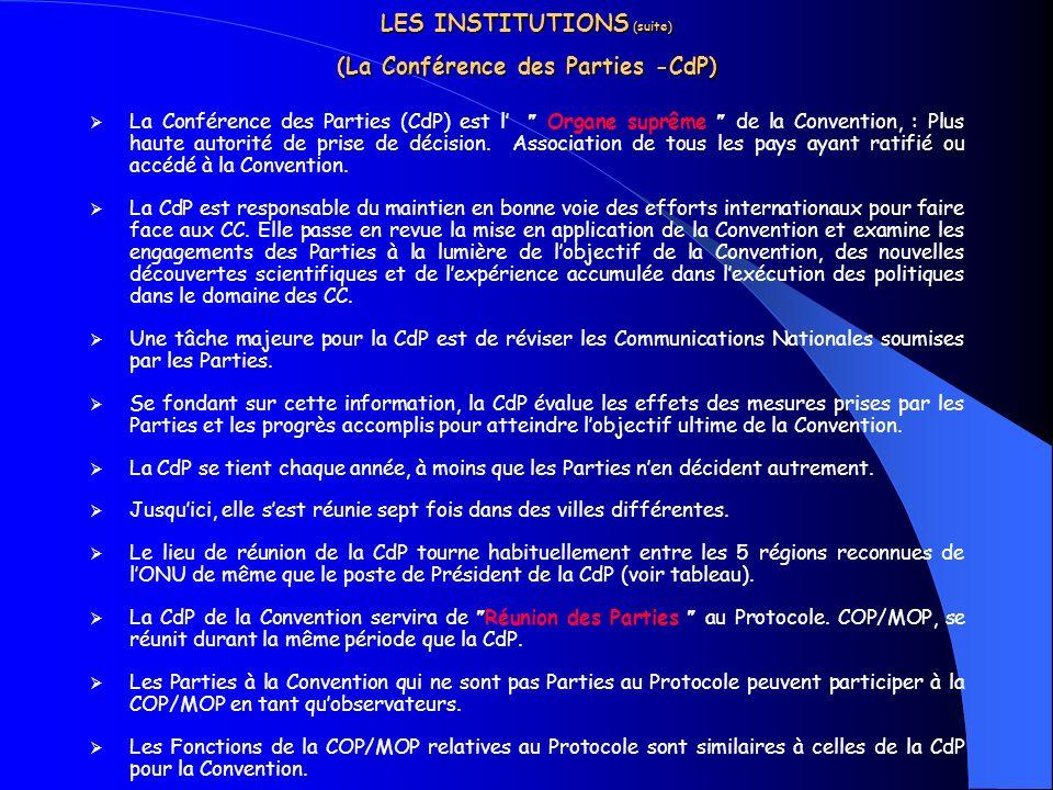 LES INSTITUTIONS ( suite) (La Conférence des Parties -CdP) La Conférence des Parties (CdP) est l Organe suprême de la Convention, : Plus haute autorit