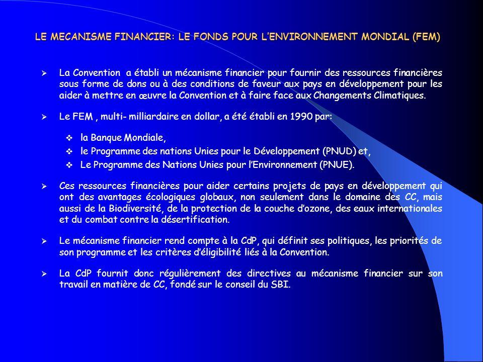 LE MECANISME FINANCIER: LE FONDS POUR LENVIRONNEMENT MONDIAL (FEM) La Convention a établi un mécanisme financier pour fournir des ressources financièr