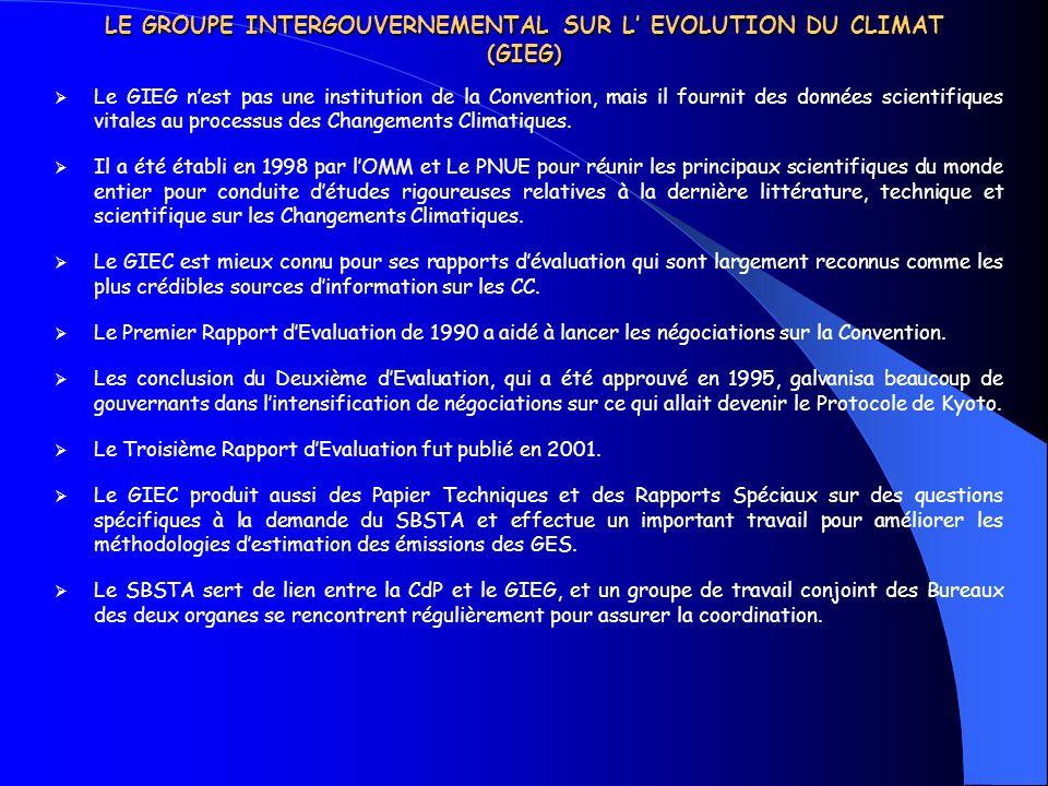 LE GROUPE INTERGOUVERNEMENTAL SUR L EVOLUTION DU CLIMAT (GIEG) Le GIEG nest pas une institution de la Convention, mais il fournit des données scientif