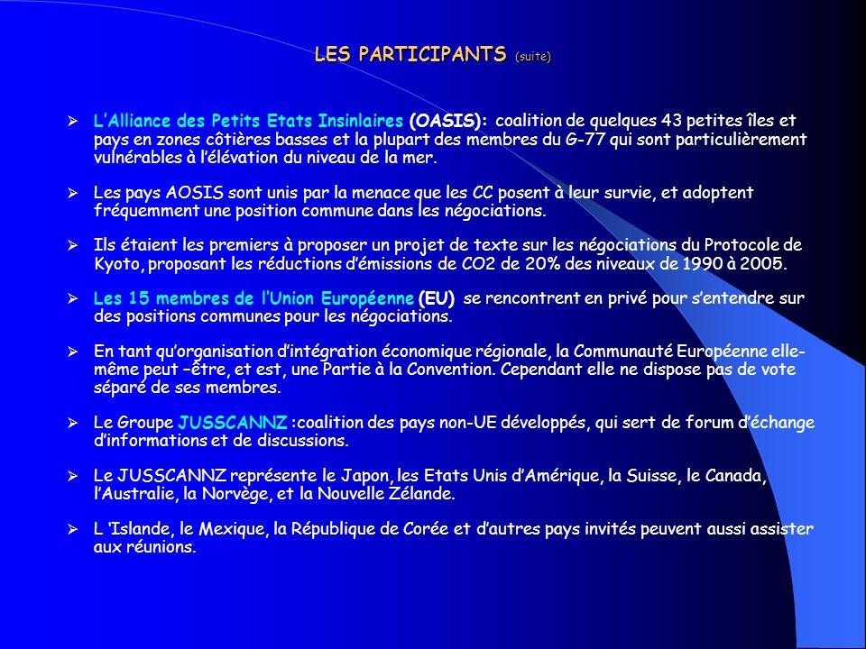 LES PARTICIPANTS (suite) LAlliance des Petits Etats Insinlaires (OASIS): coalition de quelques 43 petites îles et pays en zones côtières basses et la
