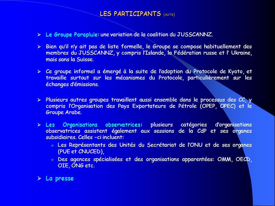 LES PARTICIPANTS (suite) Le Groupe Parapluie: une variation de la coalition du JUSSCANNZ. Bien quil ny ait pas de liste formelle, le Groupe se compose