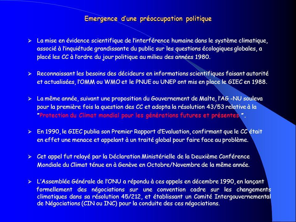 Emergence dune préoccupation politique La mise en évidence scientifique de linterférence humaine dans le système climatique, associé à linquiétude gra