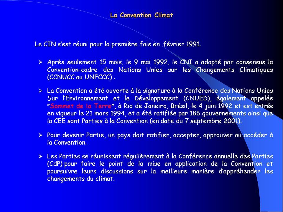 La Convention Climat Le CIN sest réuni pour la première fois en février 1991. Après seulement 15 mois, le 9 mai 1992, le CNI a adopté par consensus la