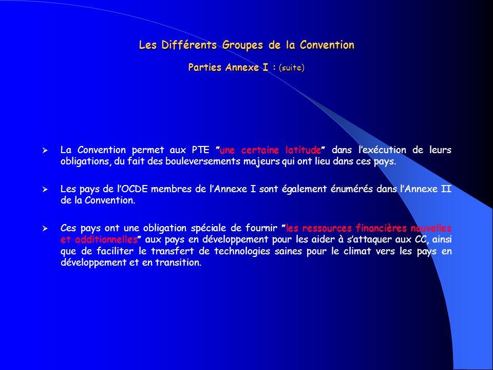 Les Différents Groupes de la Convention Parties Annexe I : (suite) La Convention permet aux PTE une certaine latitude dans lexécution de leurs obligat