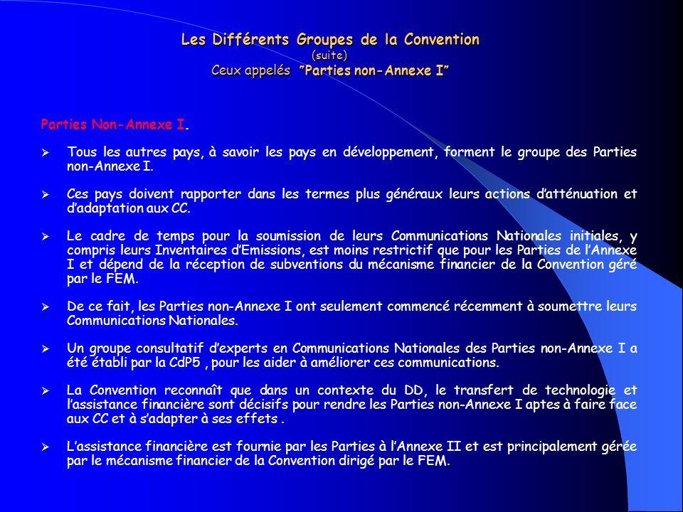 Les Différents Groupes de la Convention (suite) Ceux appelés Parties non-Annexe I Les Différents Groupes de la Convention (suite) Ceux appelés Parties