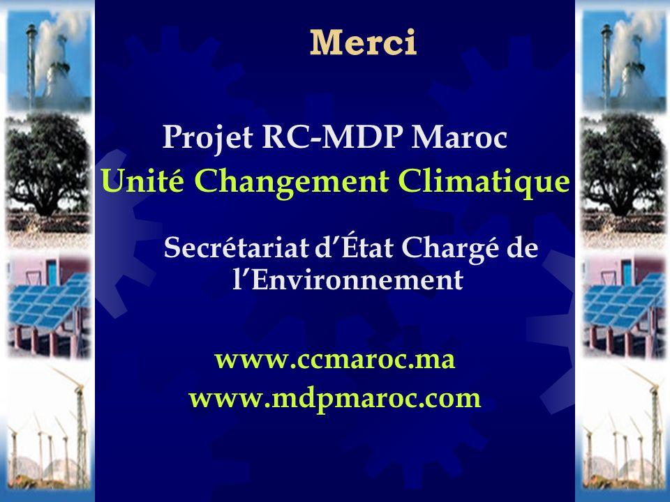 Projet RC-MDP Maroc Unité Changement Climatique Secrétariat dÉtat Chargé de lEnvironnement www.ccmaroc.ma www.mdpmaroc.com Merci