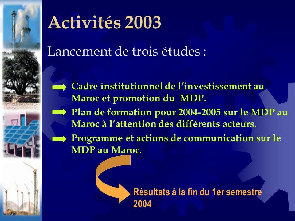 Lancement de trois études : Cadre institutionnel de linvestissement au Maroc et promotion du MDP.