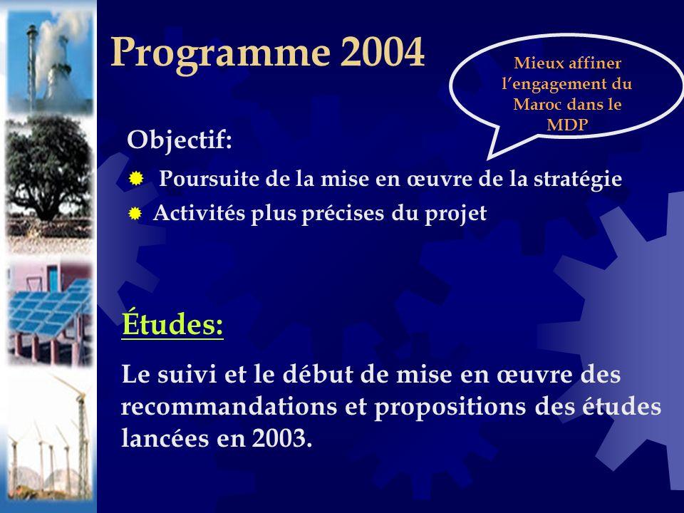 Objectif: Poursuite de la mise en œuvre de la stratégie Activités plus précises du projet Programme 2004 Études: Le suivi et le début de mise en œuvre des recommandations et propositions des études lancées en 2003.