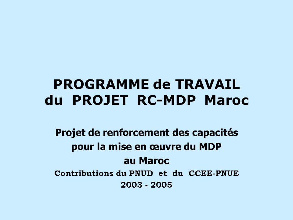 PROGRAMME de TRAVAIL du PROJET RC-MDP Maroc Projet de renforcement des capacités pour la mise en œuvre du MDP au Maroc Contributions du PNUD et du CCEE-PNUE 2003 - 2005