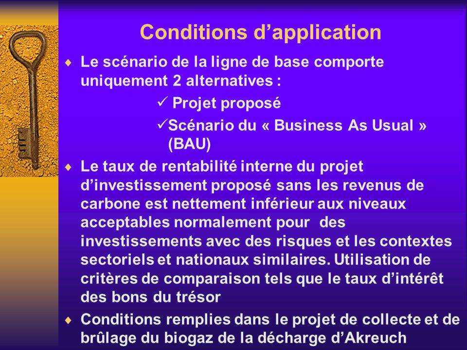 Conditions dapplication Le scénario de la ligne de base comporte uniquement 2 alternatives : Projet proposé Scénario du « Business As Usual » (BAU) Le