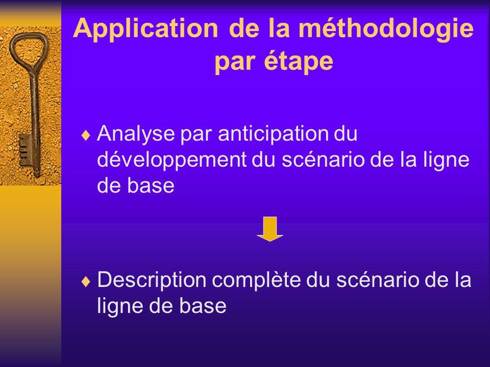 Application de la méthodologie par étape Analyse par anticipation du développement du scénario de la ligne de base Description complète du scénario de