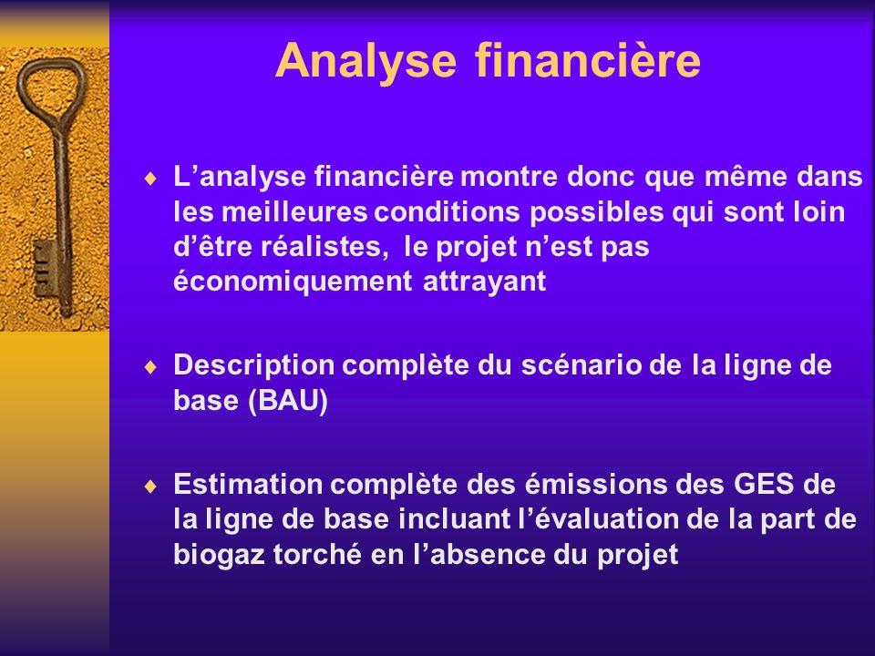Analyse financière Lanalyse financière montre donc que même dans les meilleures conditions possibles qui sont loin dêtre réalistes, le projet nest pas